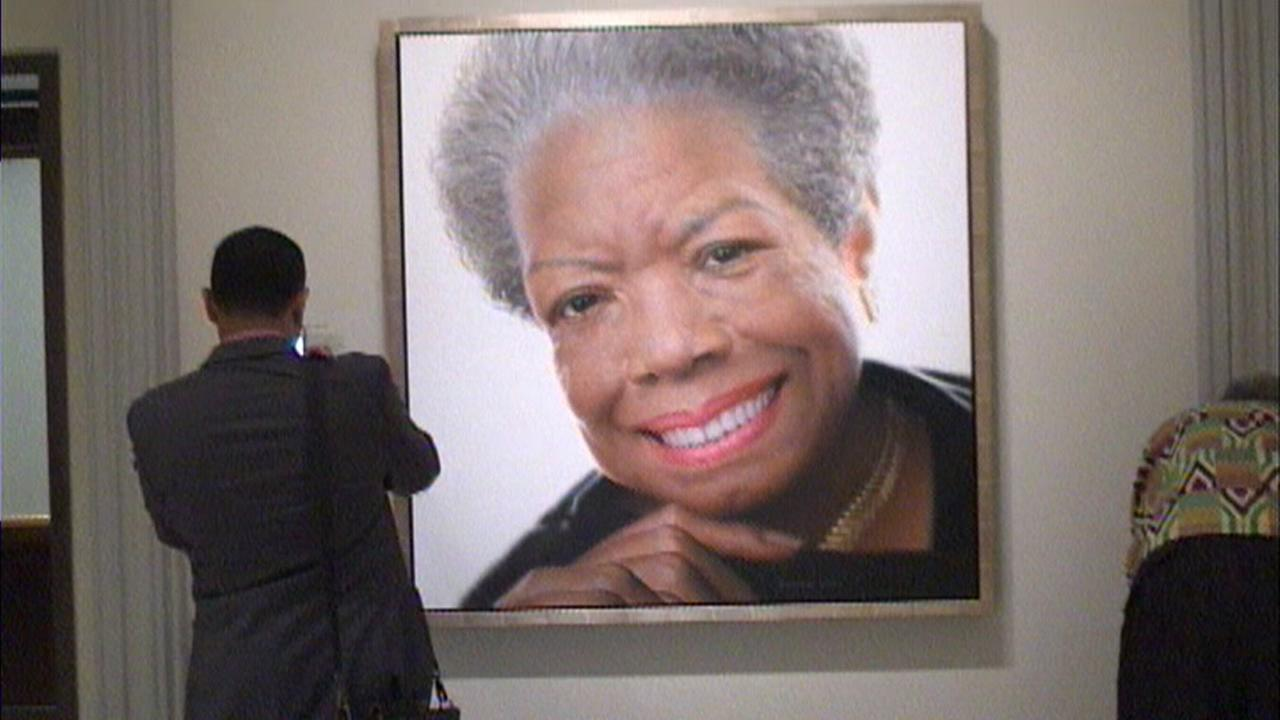 This is an undated image of a photograph of world-renowned poet Maya Angelou.