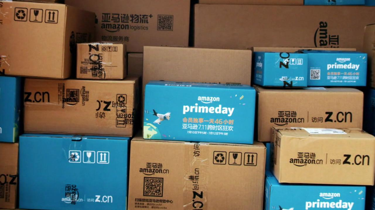 Amazon packages are loaded up in a truck on Monday, July 10, 2017.