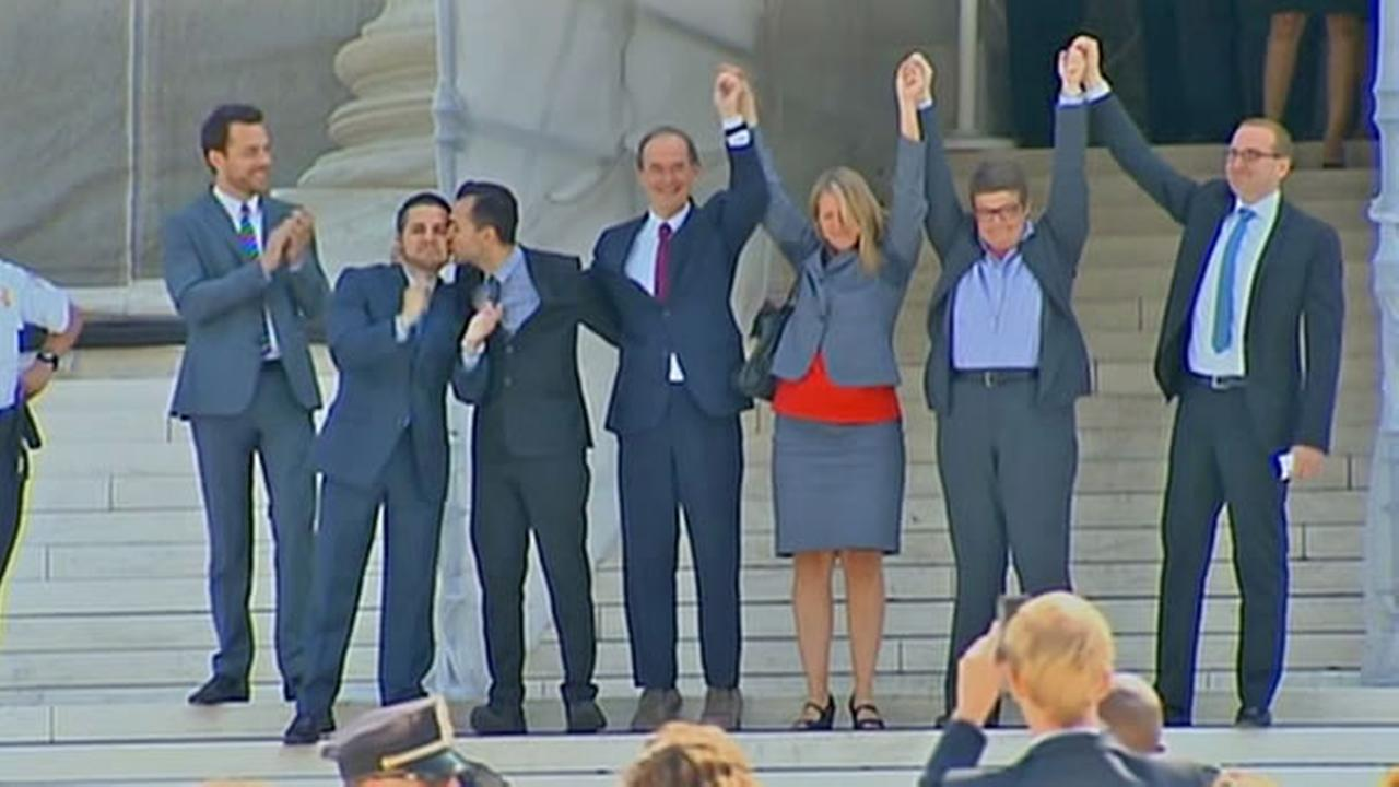 Celebration erupted outside the Supreme Court after the court cleared the way for same-sex marriages in California.