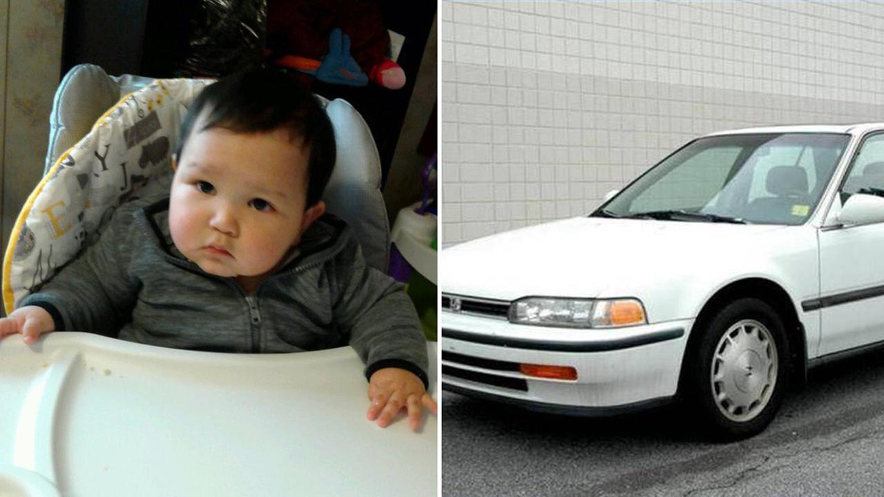 Police say 1-year-old Emiliano Salinas was abducted in a 1992 White Honda Accord in Soledad, California, Monday, July 17, 2017.