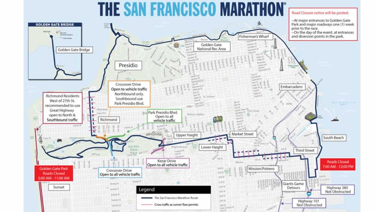 This map shows road closures for the SF Marathon in San Francisco on Sunday, July 23, 2017.
