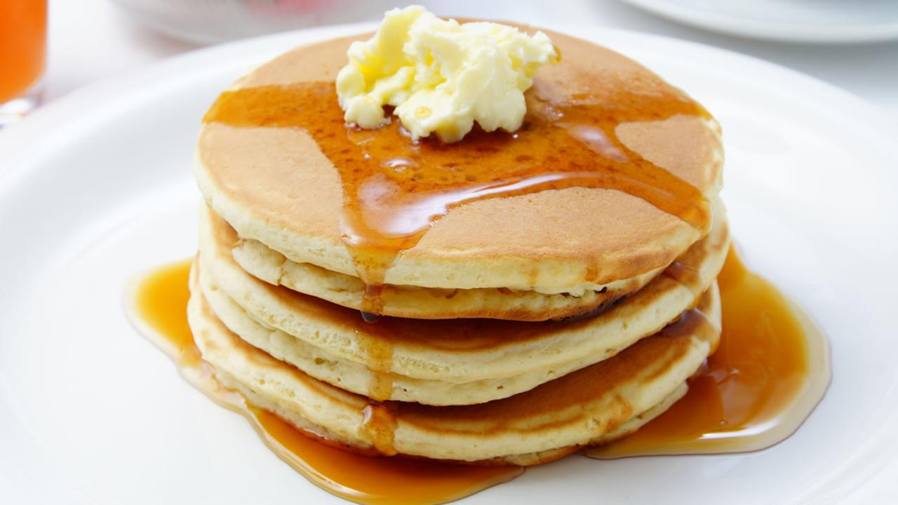 This undated image shows a stack of pancakes.