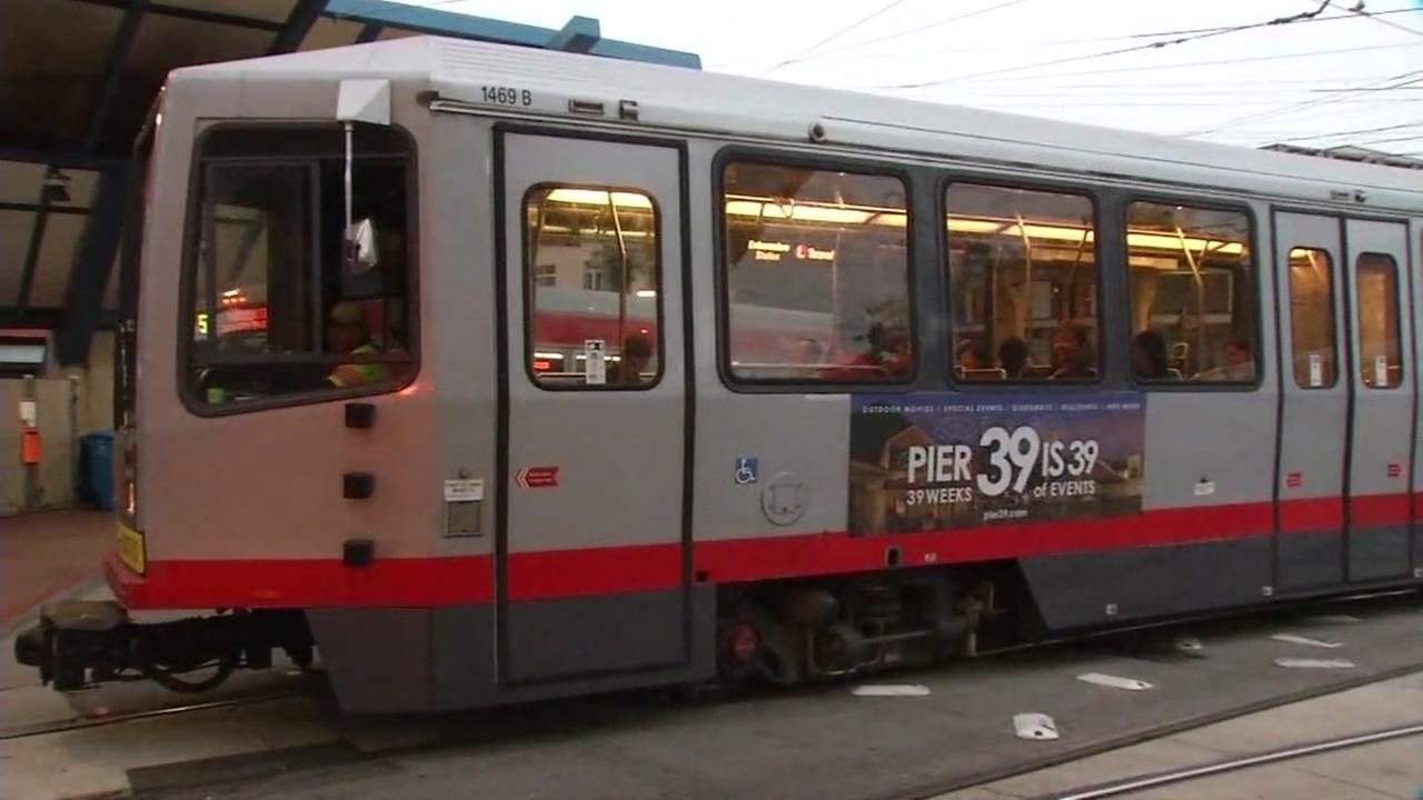 A Muni train pulls into the West Portal station in San Francisco on Friday, July 21, 2017.