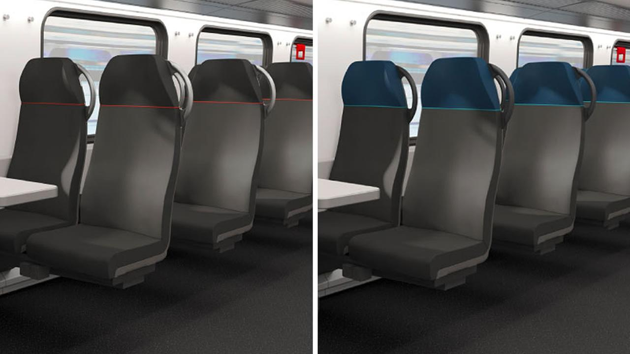 These undated images show the seat colors for Caltrains new cars.