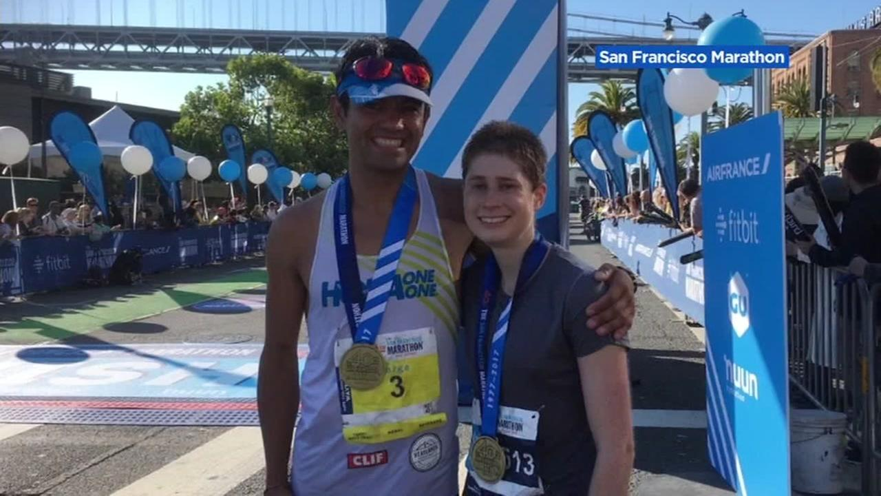 Jorge Maravilla from Mill Valley poses with Devin McMahon from Stanford after they both won finished at the top at the San Francisco Marathon on Sunday, July 23, 2017.