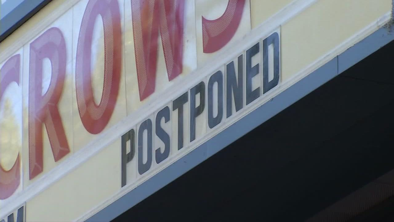 A postponed sign appears in this undated image at the Shoreline Ampitheatre in Mountain View, Calif.