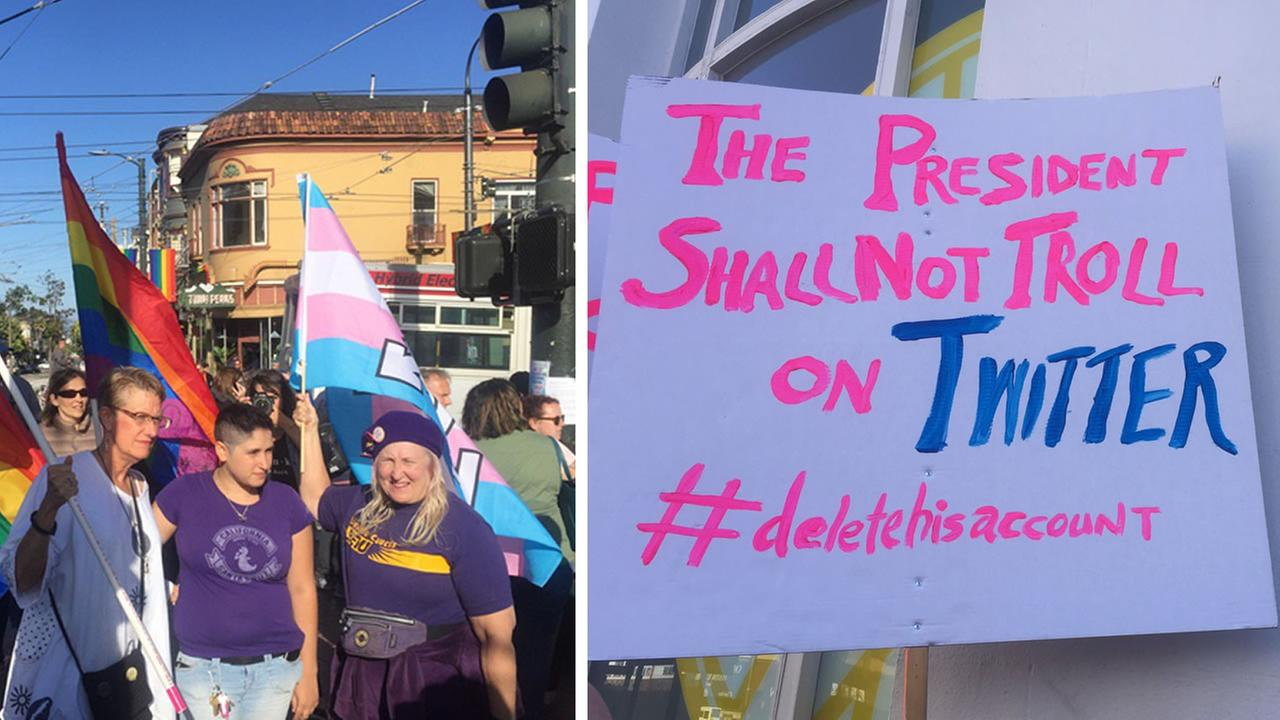 Protesters gather with rainbow and transgender pride flags in San Franciscos Castro District, while another holds a sign on Wednesday, July 26, 2017.