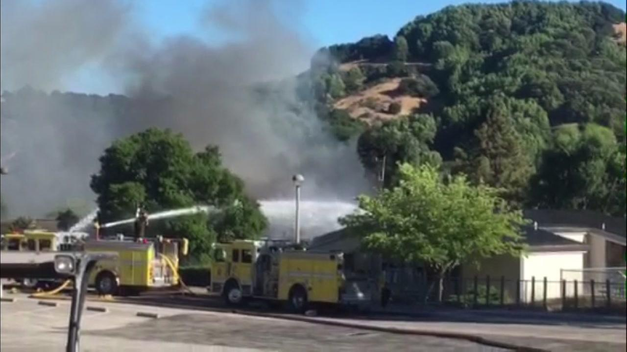Dixie Elementary appears to be on fire in San Rafael, Calif. on Monday, July 31, 2017.