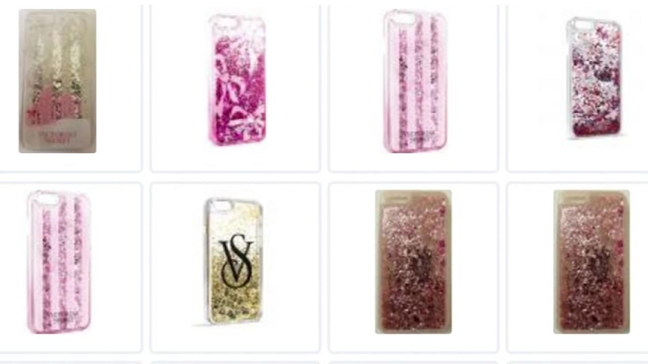 This is an undated image of glitter iPhone cases.