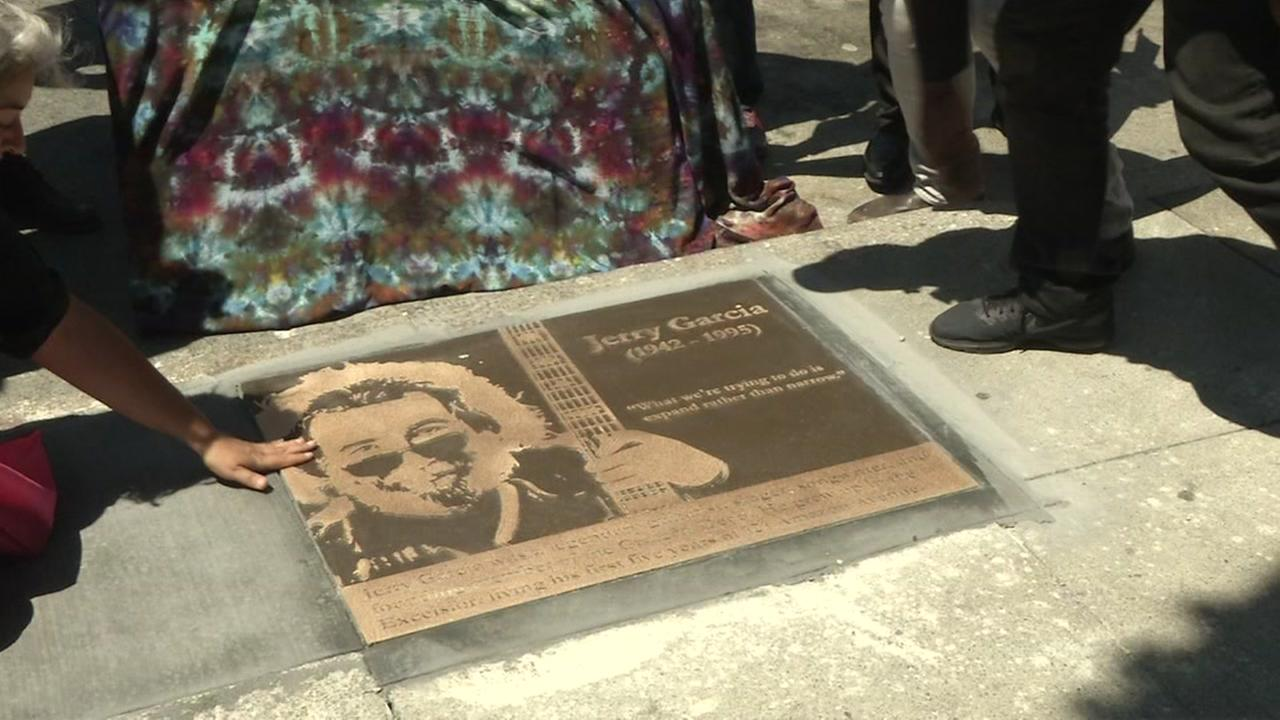 A Jerry Garcia memorial plaque was unveiled in San Franciscos Excelsior District on Tuesday, August 1, 2017.