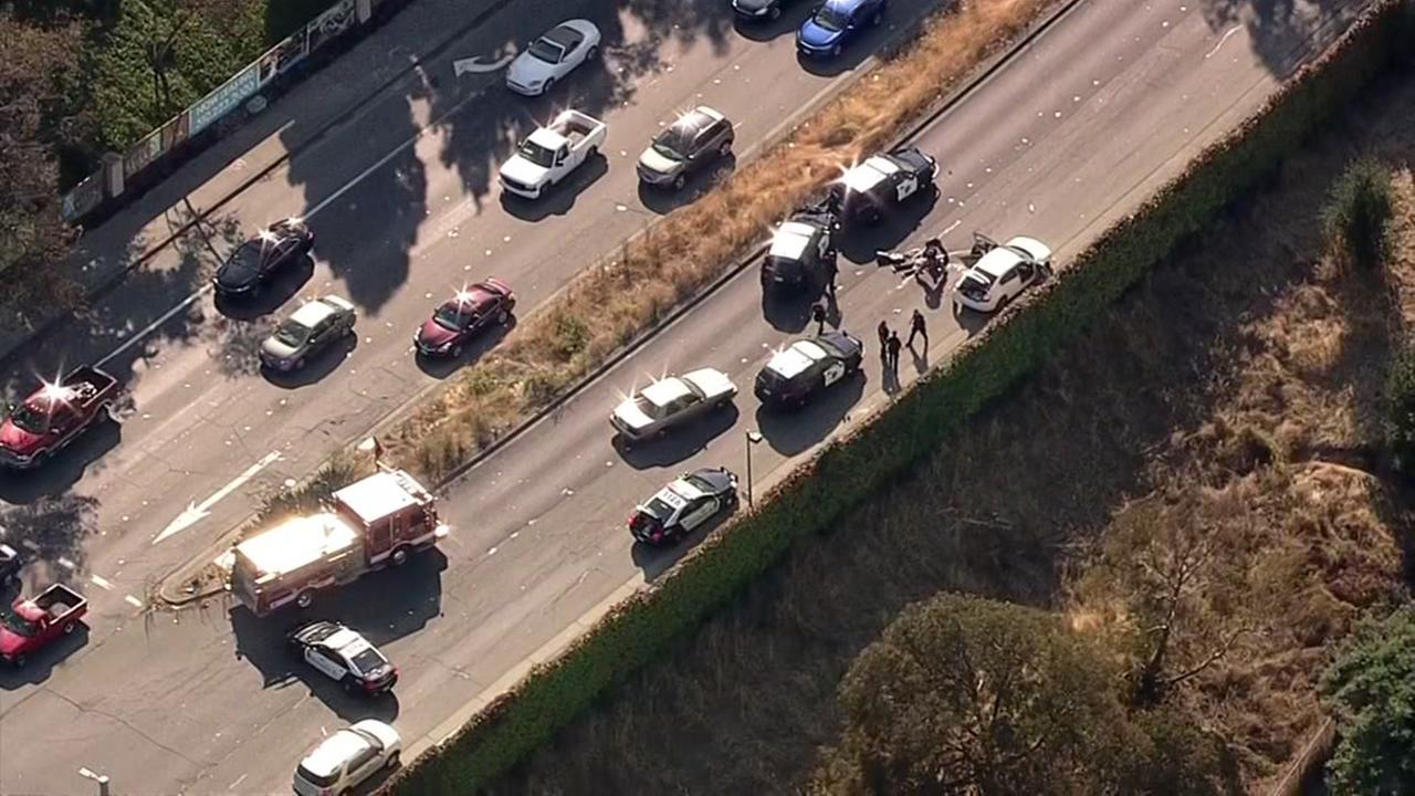 The scene of a highway chase in Richmond, Calif. appears on Aug. 2, 2017.