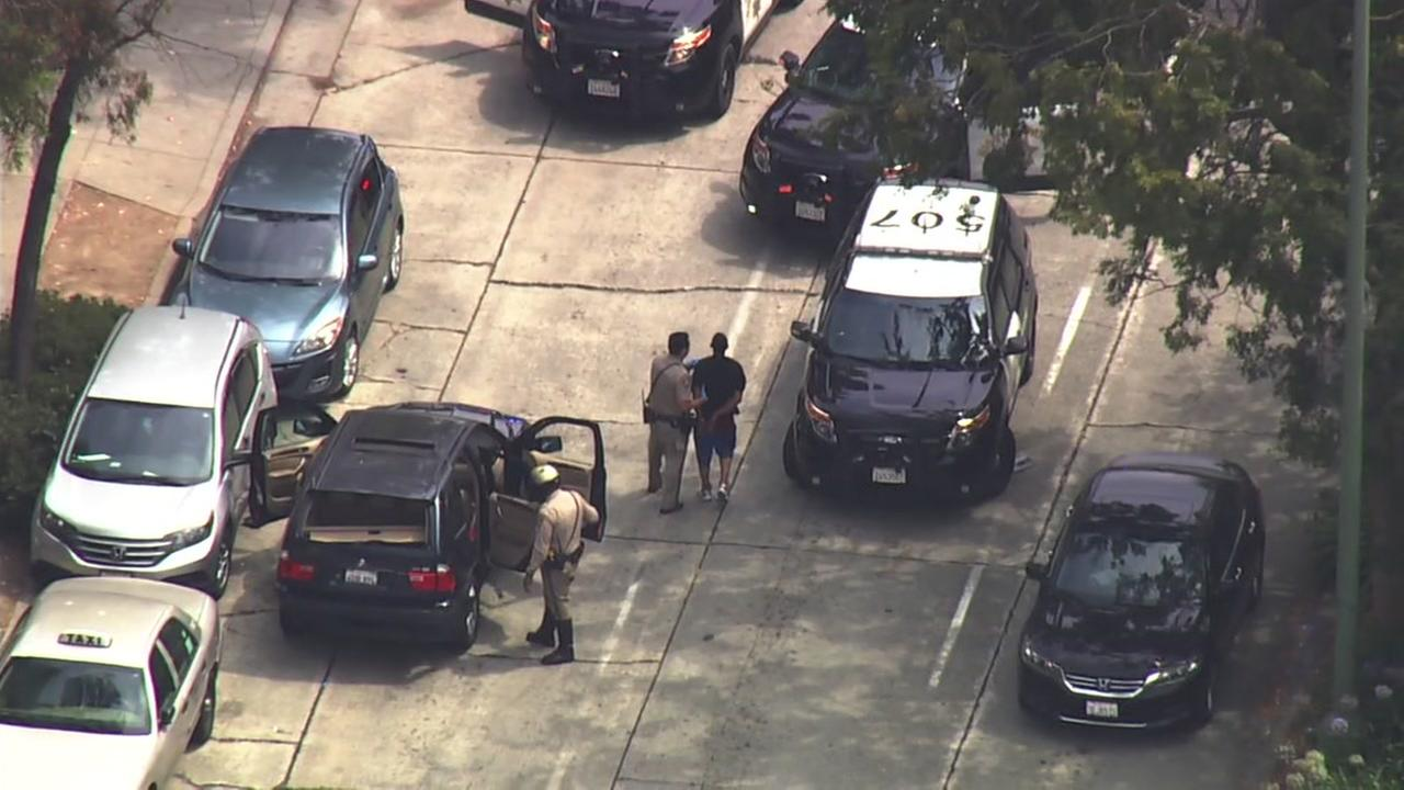 A suspect is in custody after a high-speed chase in Oakland, Calif. on Thursday, Aug. 3, 2017.