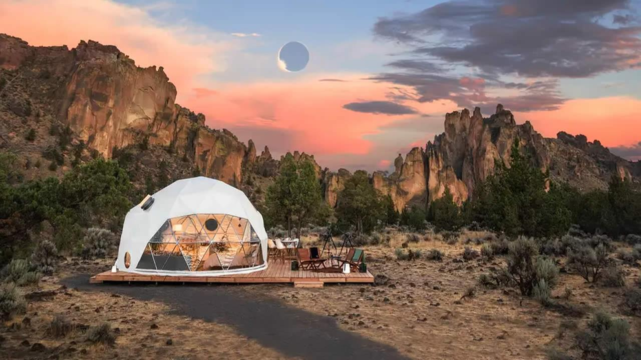 In this undated photo, entrants can win a chance to stay in a luxurious geodesic dome near Bend, Oregon, on Sunday, August 20, 2017.