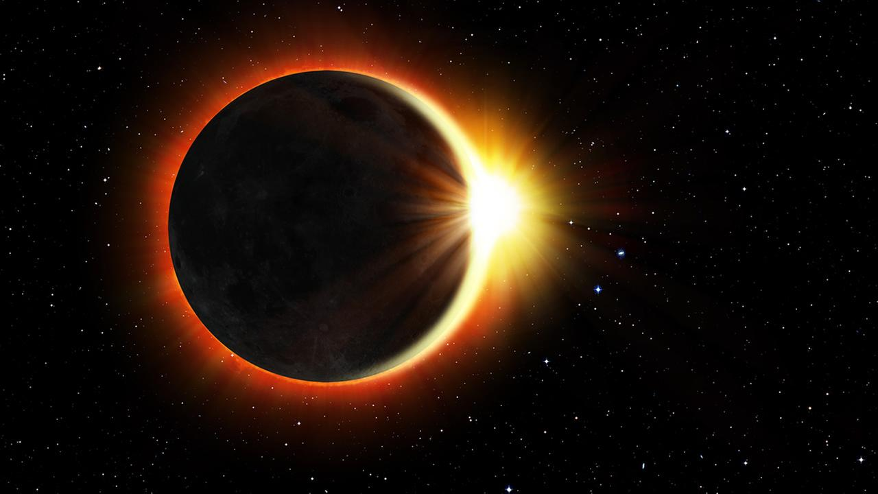 Solar Eclipse Elements of this image furnished by NASA