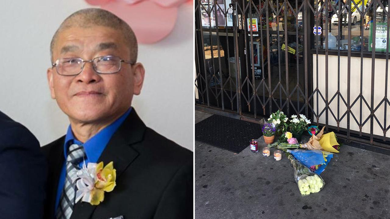 (Left) Hieu Charlie Ly and (right) flowers left as a memorial to Ly in San Jose, California, Tuesday, August 8, 2017.
