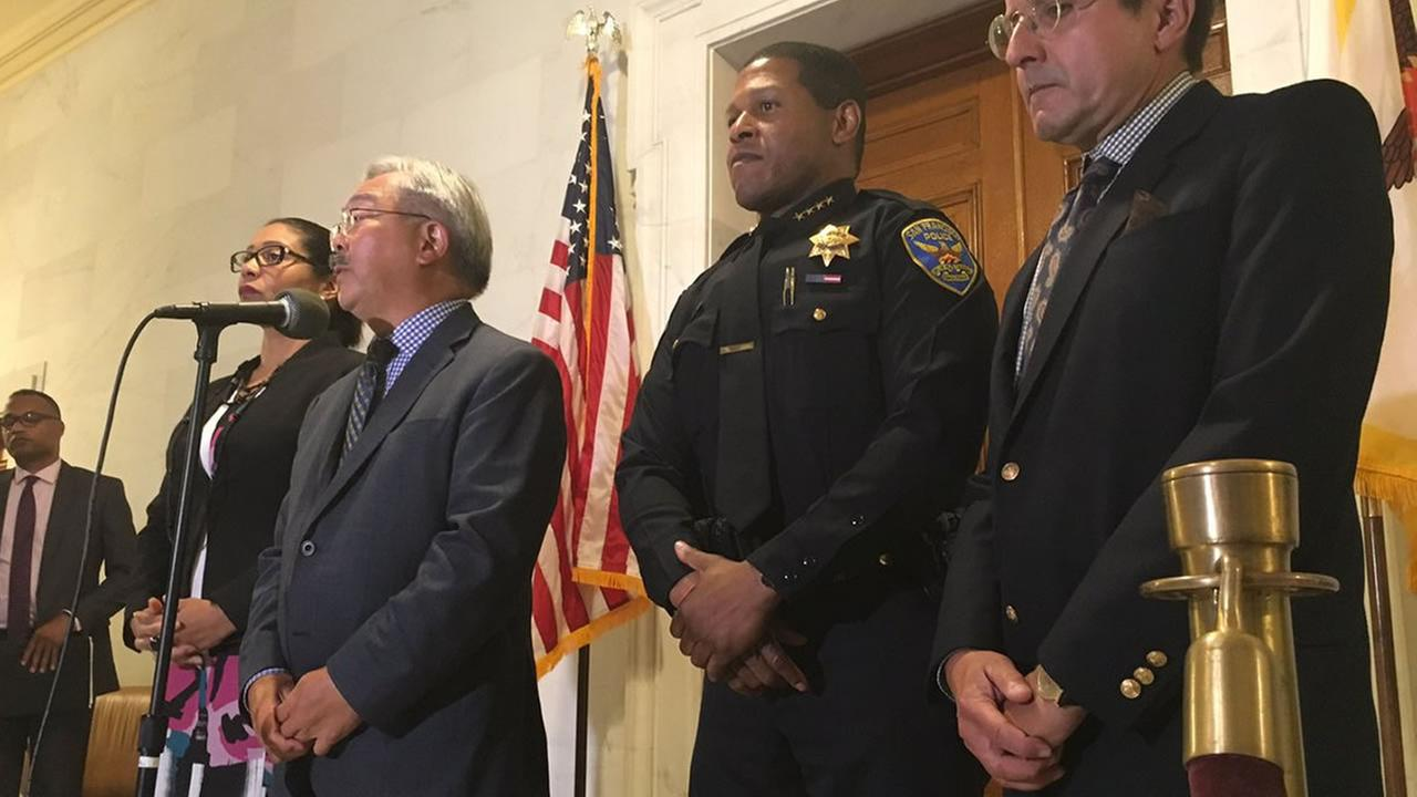 San Francisco city leaders, including Mayor Ed Lee, second from left, have concerns over safety related to right-wing event planned in for Saturday, August 26.