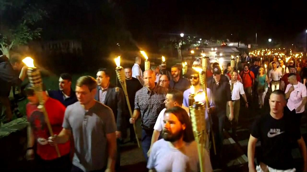 White nationalists march in Charlottesville, VA on Aug. 12, 2017.