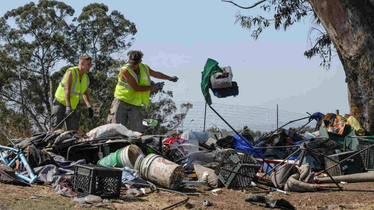 Debris from a homeless encampment is seen in Santa Rosa, Calif. on Wednesday, August 16, 2017.