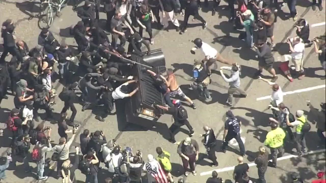 Protesters clash in Berkeley, California over President Donald Trump on Saturday, April 15, 2017.