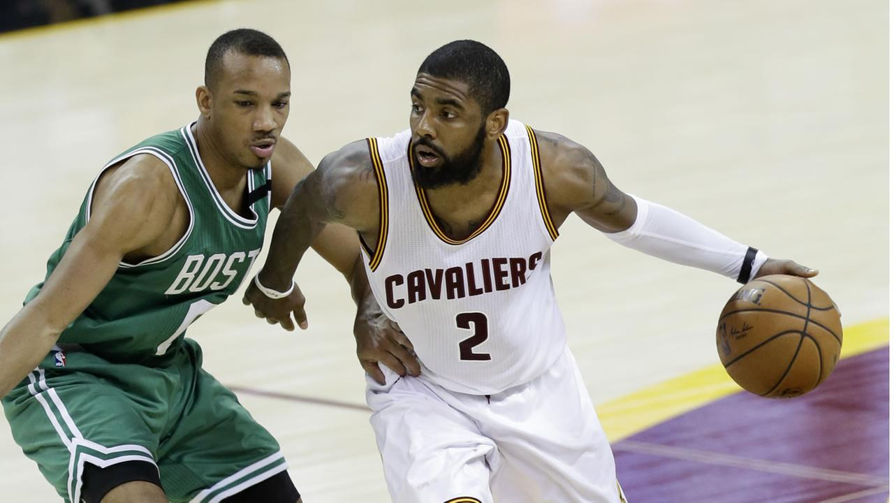 Cleveland Cavaliers Kyrie Irving (2) drives on Boston Celtics Avery Bradley (0) during the second half of Game 4 of the NBA basketball Eastern Conference finals in 2017.