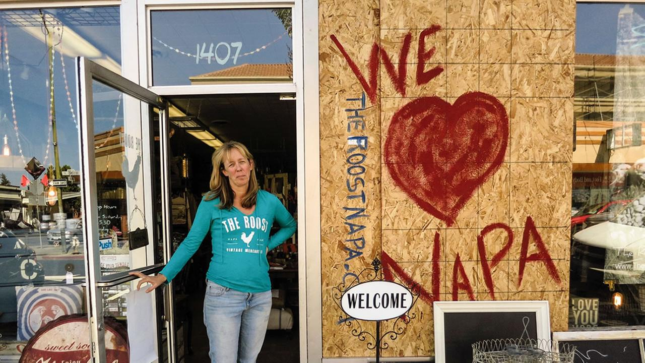 Patricia Trimble is seen in Napa, Calif. after a 6.0 magnitude earthquake.