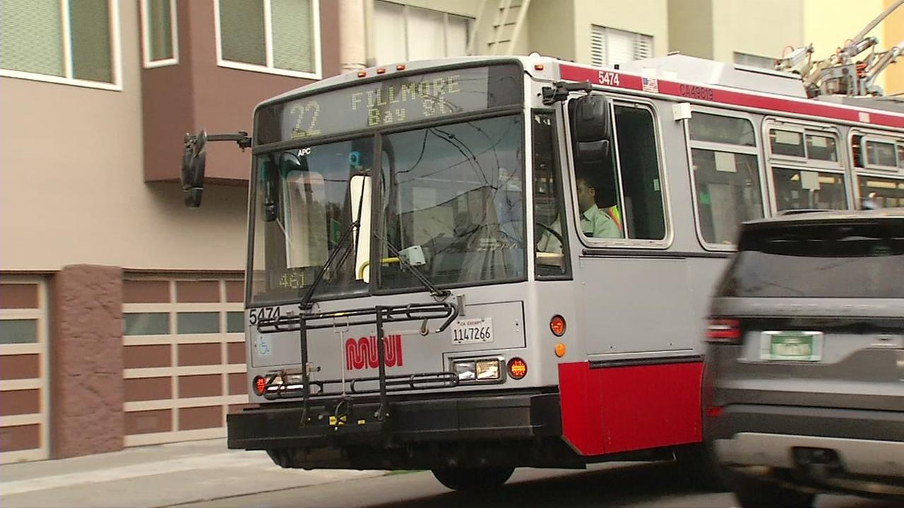 A Muni bus is seen in San Francisco on Thursday, Aug. 24, 2017.
