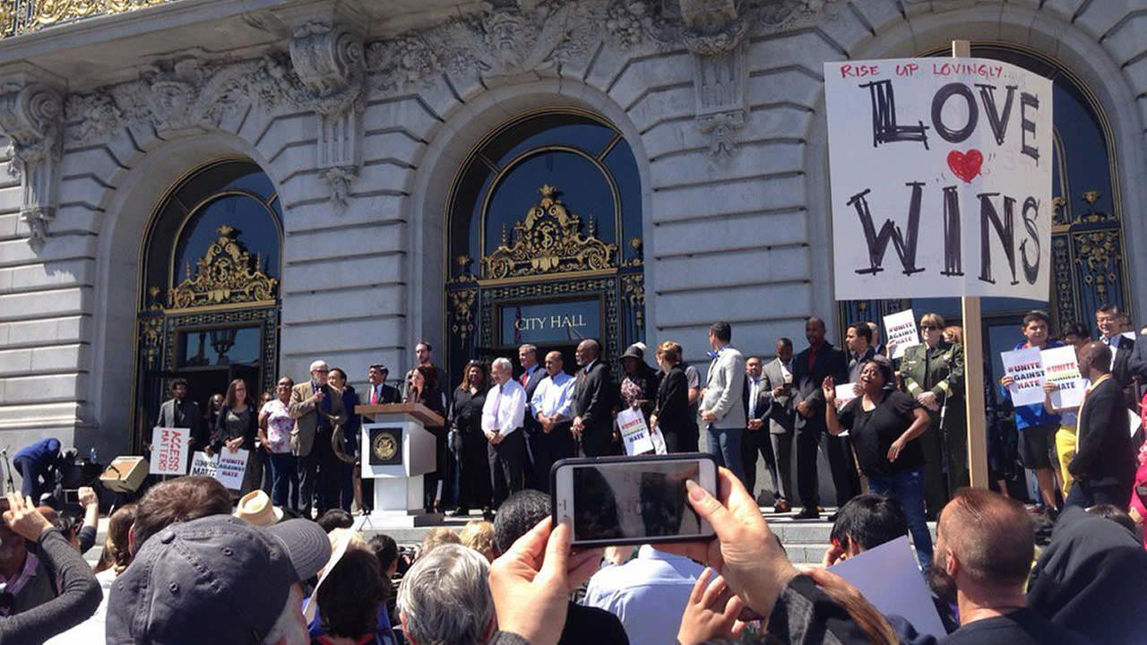 Residents, politicians, and celebrities gathered for a Unite Against Hate Rally in front of San Franciscos City Hall on Friday, Aug. 25, 2017.
