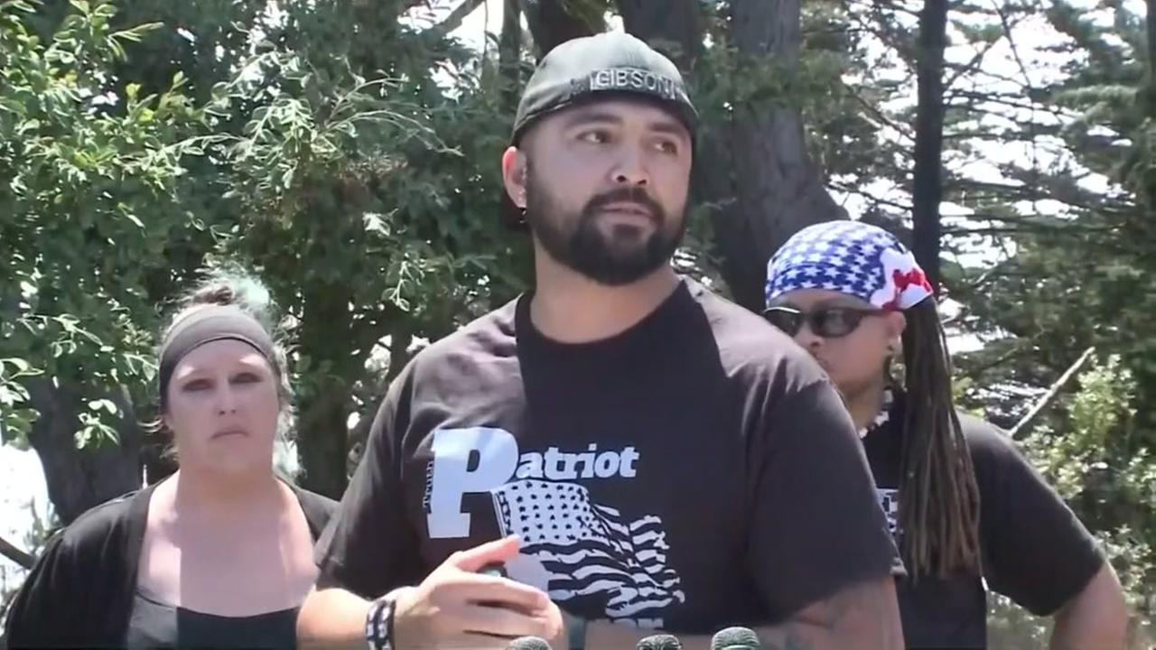 Joey Gibson talks about protests and politics in Pacifica, Calif. on Saturday, Aug. 26, 2017.