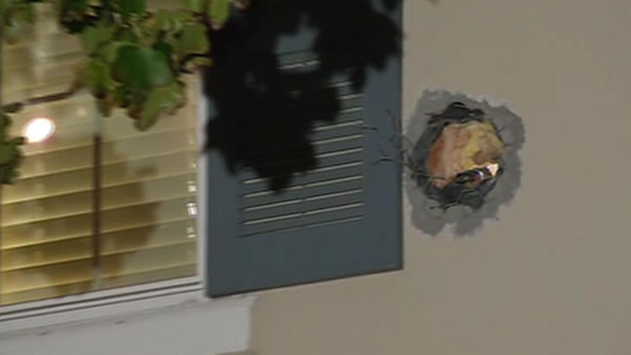 A cannonball launched from the Alameda County firing range during a taping for MythBusters damaged a home and a car Tuesday afternoon.