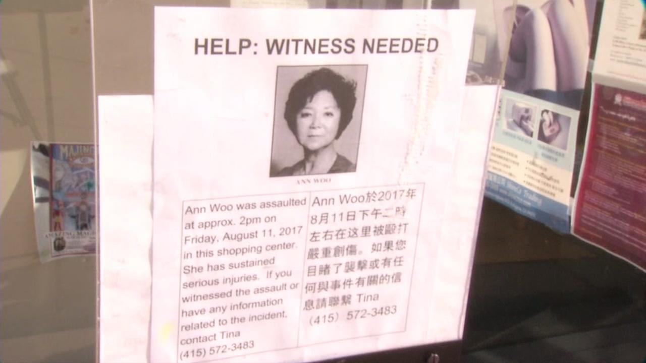A flyer pleads for a witness to come forward in the death of Ann Woo in San Jose, Calif. on Aug. 29, 2017.