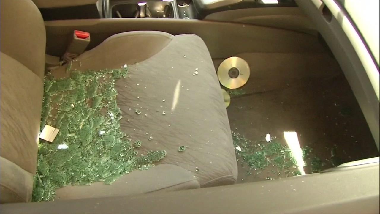Broken glass is seen on the seat of a car in this undated image.