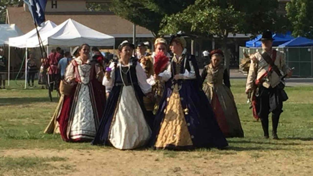 Participants in a Scottish culture event are seen in Pleasanton, Calif. on a record-breaking hot day on Saturday, September 2, 2017.