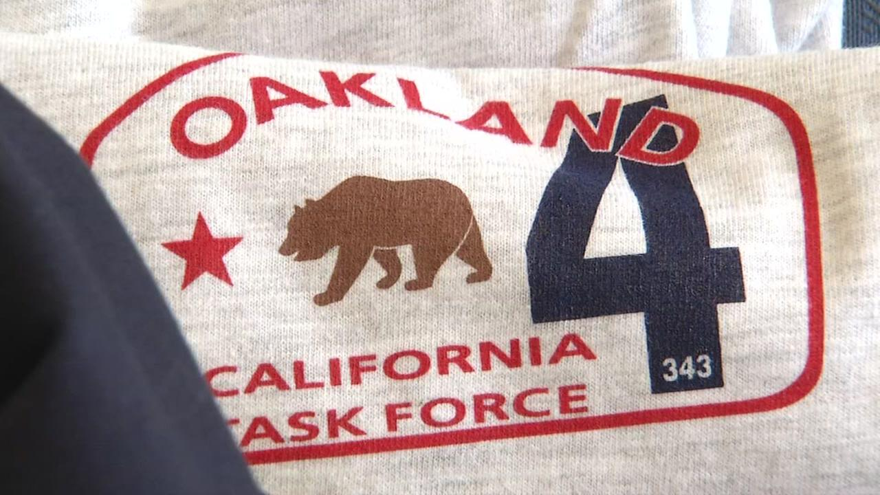 An Oakland Task Force sweat-shirt appears in the storage warehouse in Oakland, Calif. on Wednesday, Sept. 6, 2017.