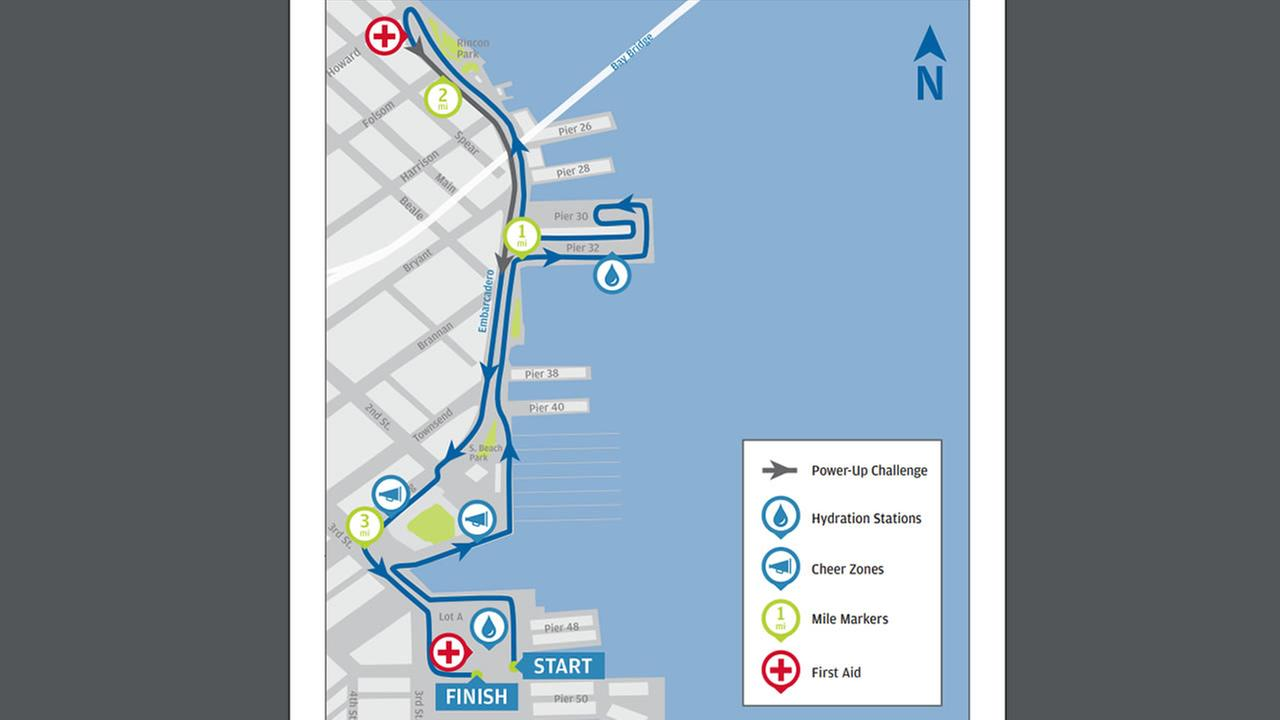 This undated image shows a course map for the JP Morgan Chase Corporate Challenge Run in San Francisco that takes place on Thursday, Sep. 7, 2017.
