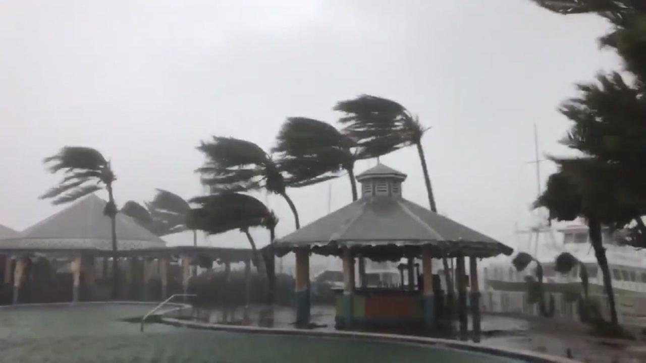 Hurricane Irma is seen battering the Florida coastline on Sunday, September 10, 2017.