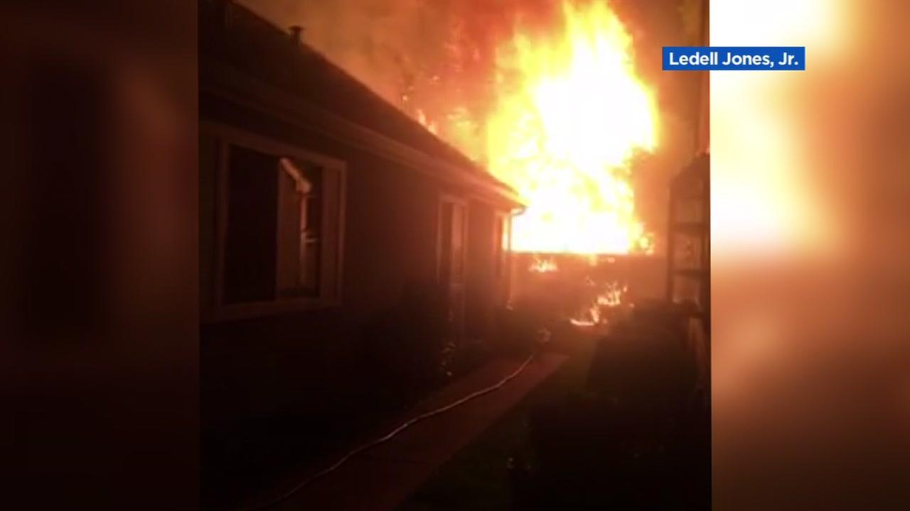 Flames fly into the air near an Antioch home on Sunday, Sept. 10, 2017.