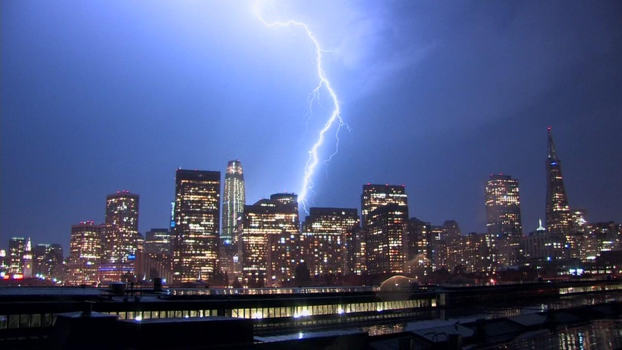 Lightning strikes the San Francisco sky on Monday, Sept. 11, 2017.
