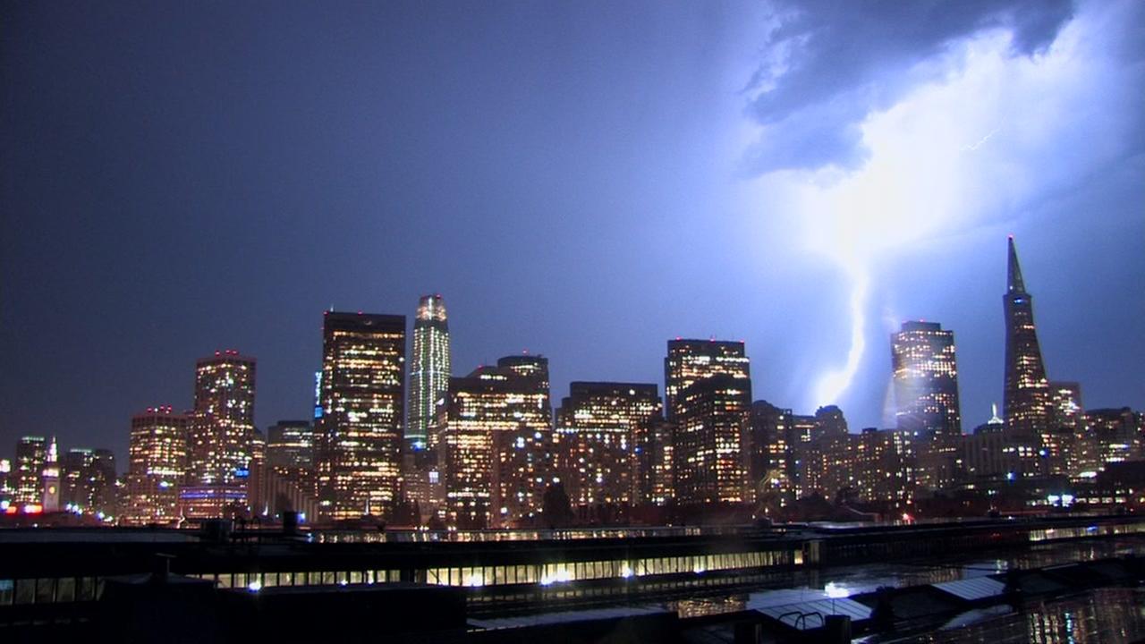 Lightning strikes the skyline in San Francisco on Monday, Sept. 11, 2017.