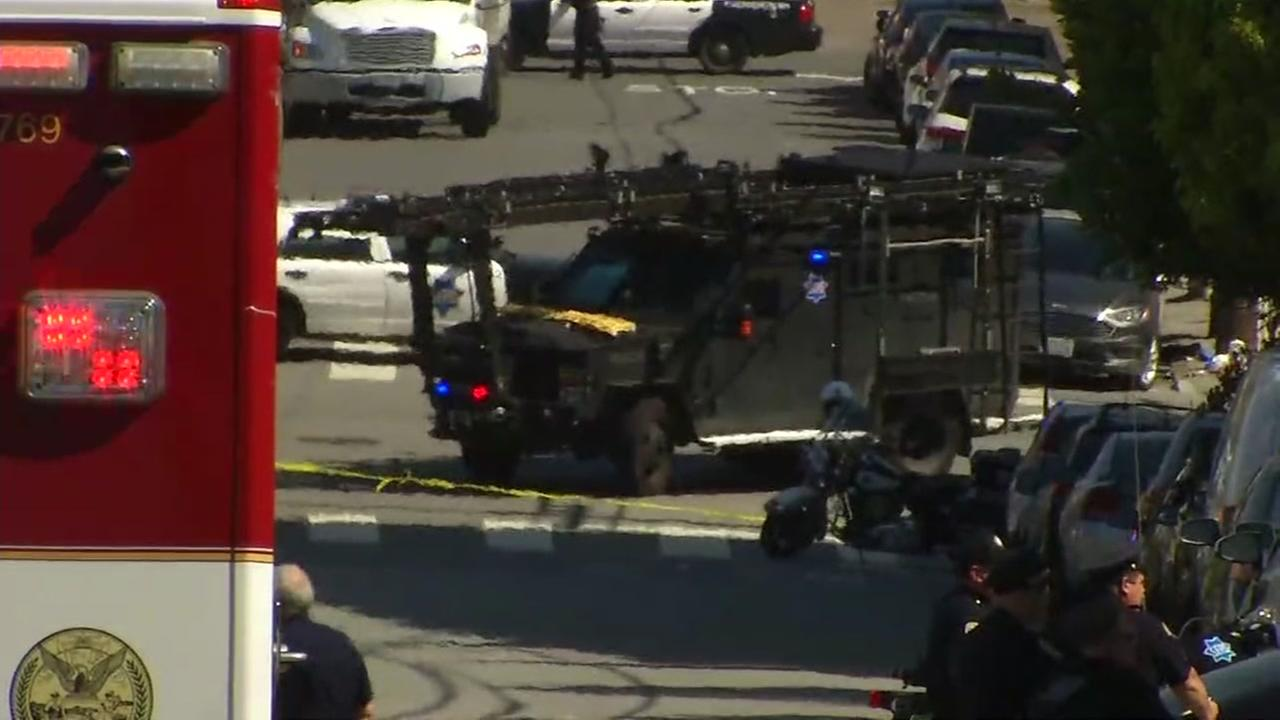 The crime scene of a shooting at a UPS facility in San Francisco appears in this file image.