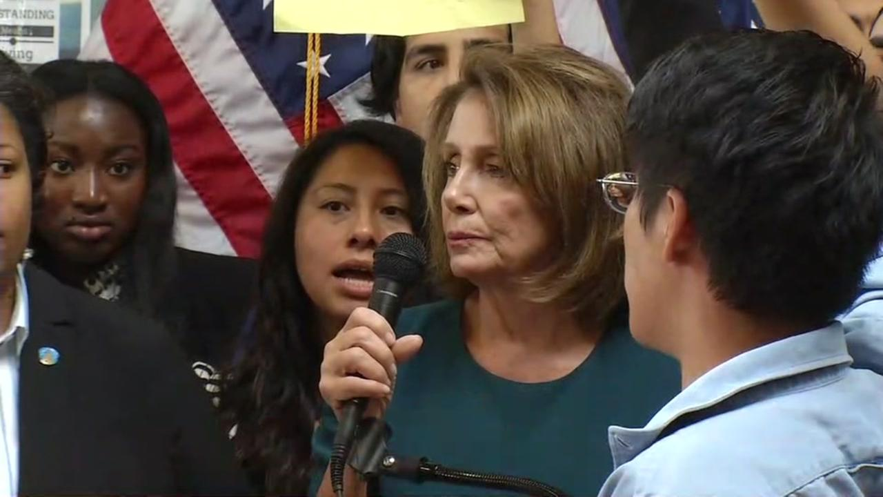 A protest erupted at a news conference by House Minority Leader Nancy Pelosi on the DREAM Act in San Francisco on Monday, Sept. 18, 2017.