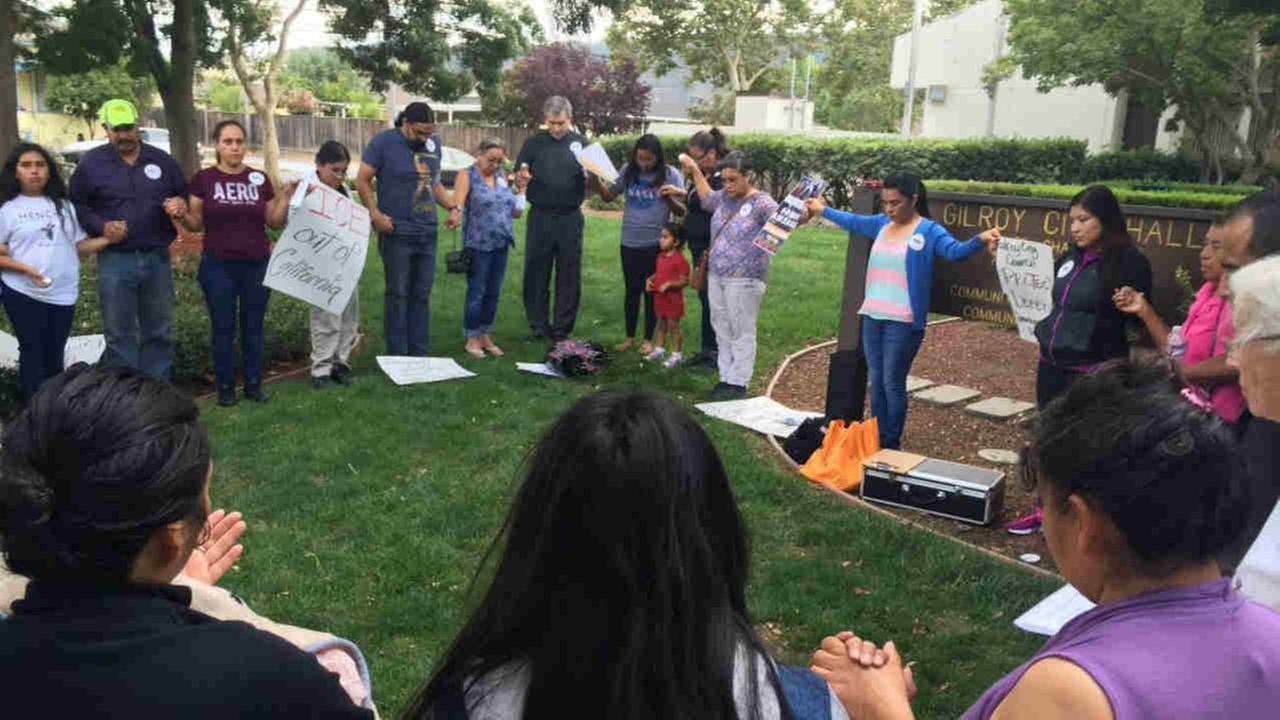 DACA supporters are seen gathering in Gilroy, Calif. on Monday, September 18, 2017.