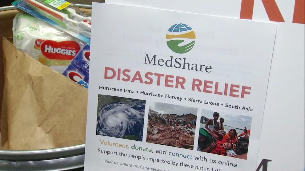 A MedShare flyer is seen next to emergency care supplies at a warehouse in San Leandro, Calif. on Tuesday, September 19, 2017.