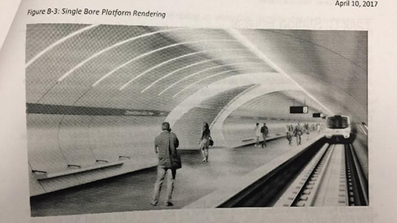 A rendering shows a single bore tunnel as part of the VTA BART Silicon Valley Phase II project.