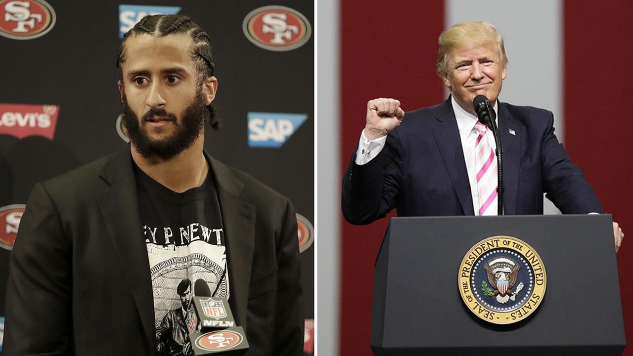 This split image shows former San Francisco 49ers quarterback Colin Kaepernick and President Donald Trump.