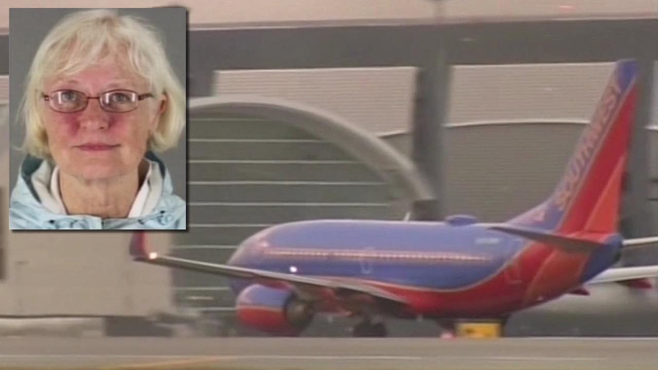 Marilyn Hartman, 62, is accused of sneaking onto a Southwest plane in San Jose without a ticket and flying to Los Angeles.