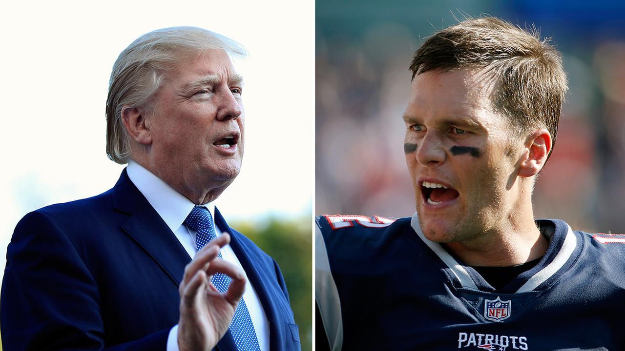 FILE -- President Donald Trump (left) and New England Patriots Quarterback Tom Brady (right)
