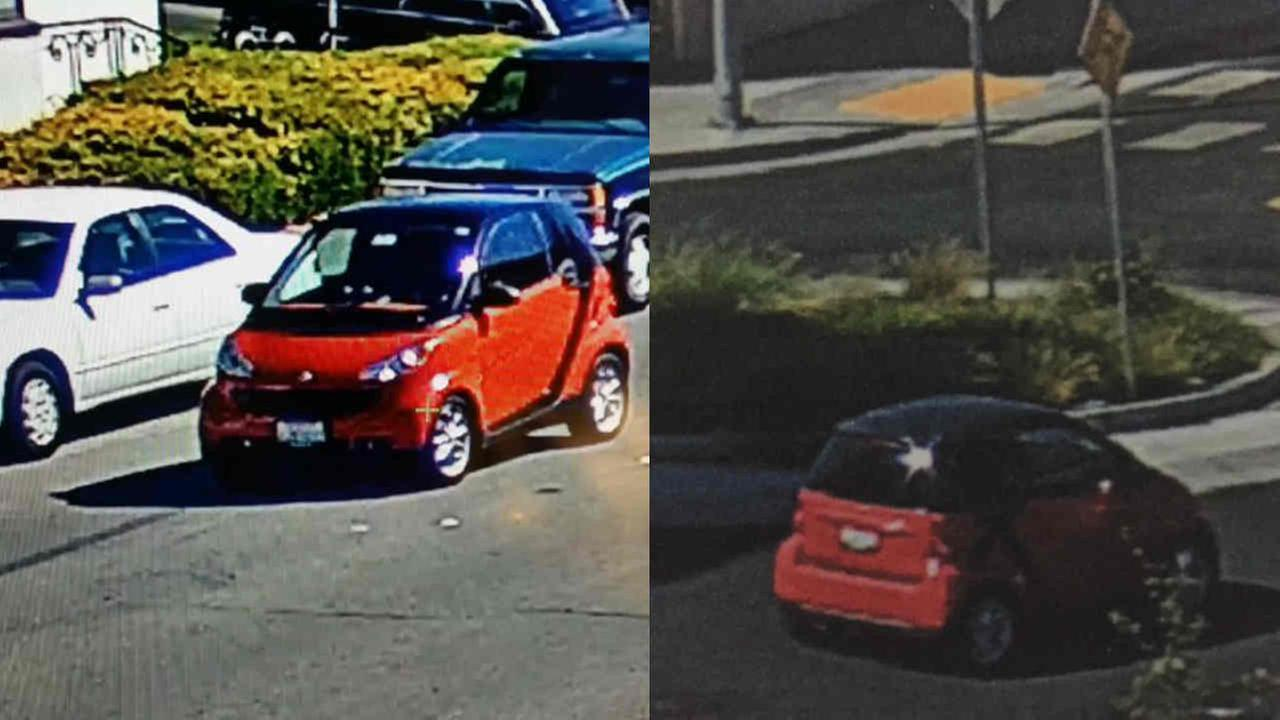 A red Smart car suspected in a hit-and-run crash that injured a child are seen on Wednesday, September 27, 2017.