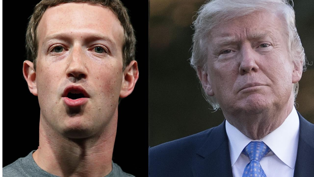 Mark Zuckerberg and President Donald Trump appear in this undated split image.