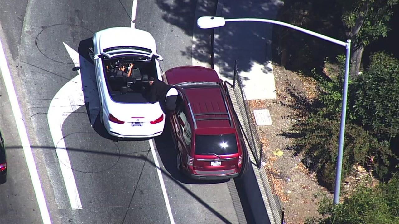 Sky7 caught an alleged carjacking on camera in Castro Valley, Calif. on Thursday, Sept. 28, 2017.