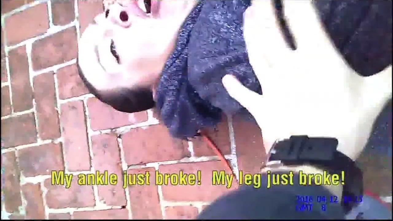 Undated photo shows Danielle Burfine in body cam video by police in Santa Clara, California.